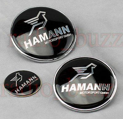 KIT - 3 Badge HAMANN - BMW Embleme - Capot+Coffre+Volant LOGO Insigne 82/73/45mm