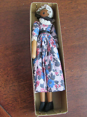 Shackman Early American Wooden Doll in Long Dress Japan Original Paper Tag Box