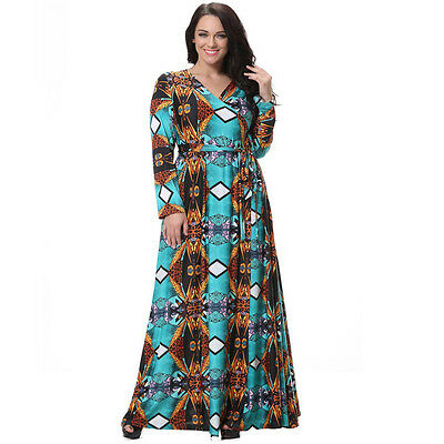 Womens Wrap Dress Floral Long Sleeve Evening Party Maxi Gowns Plus