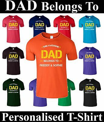 Father's Day Present Gift DAD BELONGS TO Personalised T Shirt For Daddy Tee Top