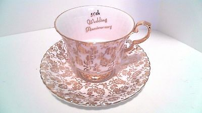 Royal Windsor Bone China Cup And Saucer England Gold Trim 50Th Wedding Anniversa