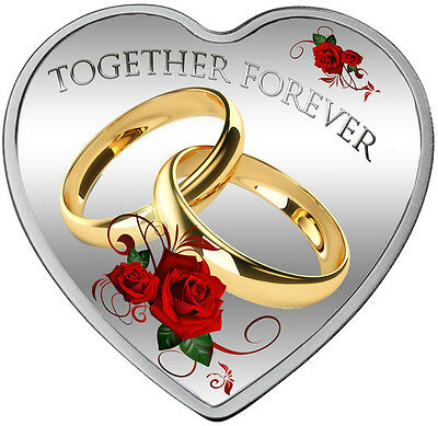 By TOGETHER FOREVER Heart - Shaped  Fine Silver Coin 2017  Tokelau Coin