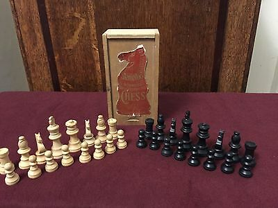 Vintage Staunton Box Wood Chess Pieces Set Complete With Original Box