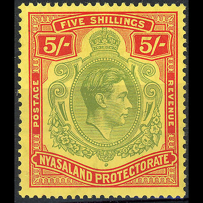 NYASALAND 1938-44 5s Pale Green & Red on Yellow. SG 141. Gum Tone. MLH. (AM181)