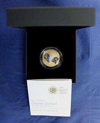 "2009 Silver Proof £2 coin ""Charles Darwin"" in Case with COA   (Z7/55)"