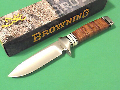 "Browning 814 Stacked Leather drop point fixed blade knife 8 1/2"" overall 322814"