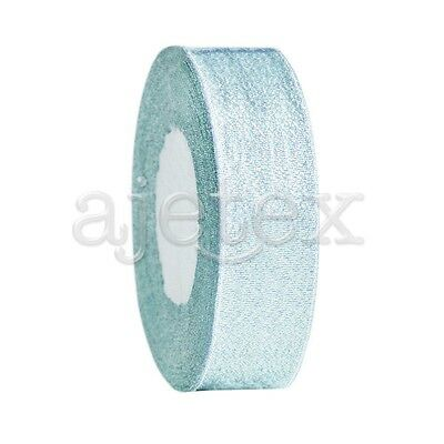 """25 Yards 1""""25mm Sparkle Glitter Ribbon Craft Wedding Party Favor Sky Blue IF"""