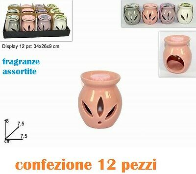 Set 12 Pezzi Porta Tea Light Lumini Con Candele Profumate Varie Fragranze moc