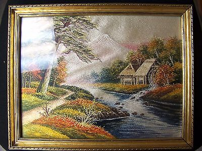 Vintage Japanese Embroidered Silk Thread Picture Art Japan Framed