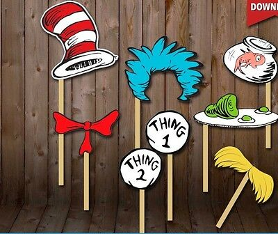 Dr Seuss Inspired Cat In The Hat Characters Photo Booth Props-Set Of 10 Handmade