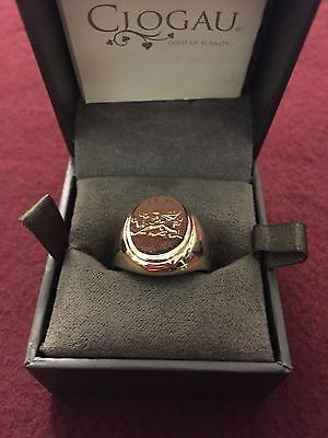 MENS CLOGAU WELSH GOLD YELLOW / ROSE DRAGON SIGNET PINKY RING SIZE P  10.9g