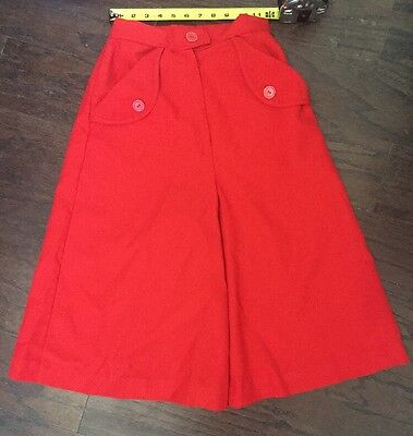 Vintage 1960s Red Gaucho Wide Flare Leg Shorts Palazzo Pants 24 in. Waist D21
