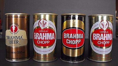 3 different Brazil beer can Brahma Chopp 1960s, 70s Brasil Lot of 4