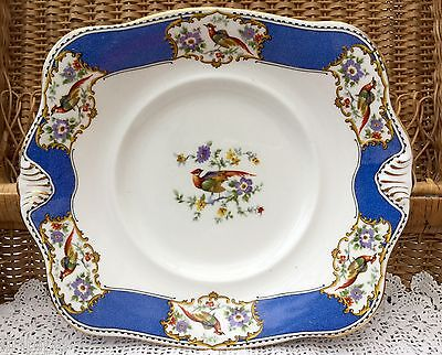 TUSCAN BCM CHINA 1920s CAKE SERVING PLATE BLUE BIRD FLORAL GILDED - DOWNTON ERA