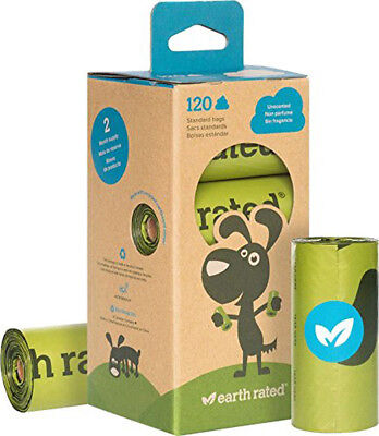 EARTH RATED - Dog Poop Bags Refill Pack Unscented 8 Rolls - 120 Bags