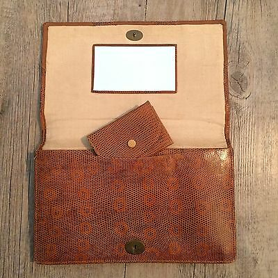 vintage brown snakeskin reptile skin clutch bag with mirror and matching purse