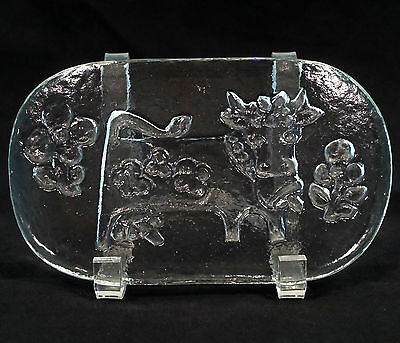 Vintage Swiss Glass Butter Press Dish Mold Cow Flowers Bas Relief