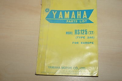 Yamaha Genuine Rs125Dx  Type 2A0 77 Parts List Book Manual