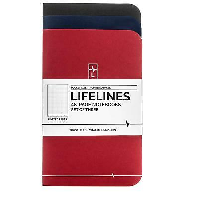 Lifelines Small Pocket Dotted Notebook 3-Pack | Bullet Journal Memos Lists Notes