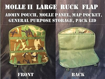 Molle Main Pack Us Military Rucksack Flap Map Pocket Pouch Woodland Camo Lid New