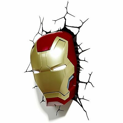 Marvel Iron Man 3D Led Wall Light Lamp New + Stickers Mask