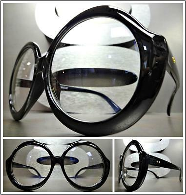OVERSIZE VINTAGE RETRO Style Clear Lens EYE GLASSES Huge Large Round Black Frame