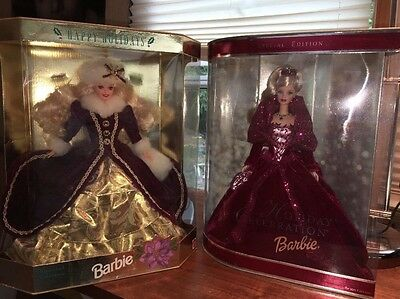Lot Of 2 Holiday Barbies 1996 And 2002 NRFB