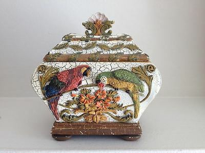 Trinket box jewelry box  vintage Victorian style ceramic white with multicolors