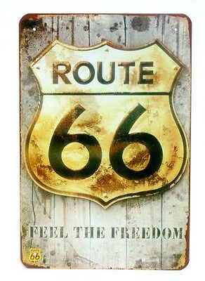 Placa metal VINTAGE ROUTE 66 FEEL THE FREEDOM Metálica retro 30x20cm