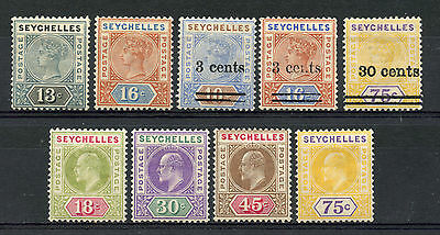 Weeda Seychelles 9a//46 Fresh MH 1890-1903 issues, Guarantee marks CV $64.75