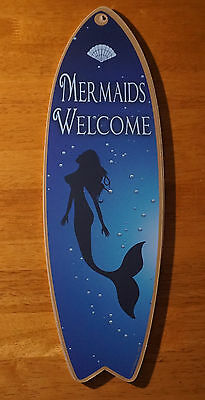MERMAIDS WELCOME Blue Shell Under The Sea Surfboard Beach Home Decor Sign - NEW