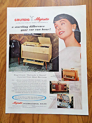 1957 Grundig Majestic Debutante 7AM FM Short Wave Automatic Phonograph Ad