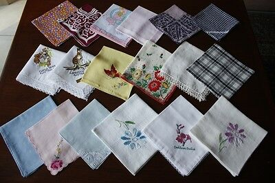 18 Vintage & Newer Cotton, Linen & Silk Embroidered & Lace Hankies #216