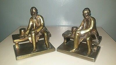 Ronson Bookends Abraham Lincoln On Bench Bronze Antique