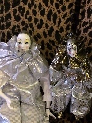 Two Vintage Porcelain Pierrot Dolls Silver Costumes One Silvestri