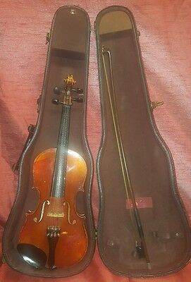 "Vintage John Juzek Violin Viola 14"" Body Made in Germany w/ Case Glasser Bow"