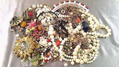 Mixed Junk Broken Mismatched Jewelry Lot Necklaces Watch Ring Earrings Etc As-Is