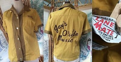 VTG 50s BOWLING SHIRT GOLD YELLOW TOP BUTTON BLOUSE FITTED HEAVY EMBROIDERY 32