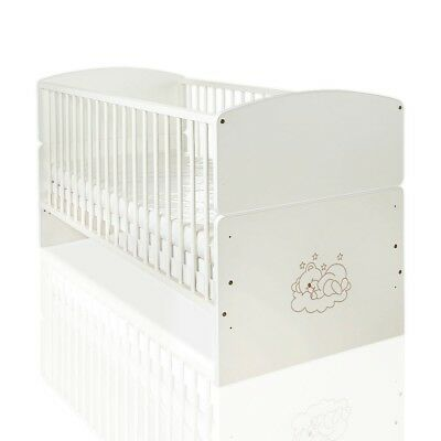 Babybett Juniorbett Sleeping Bear in Sonoma-Cream (140 x 70cm) mit Applikationen