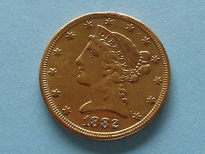 Nice 1882 United States $5 Liberty Head Gold Coin 8.24g 90%
