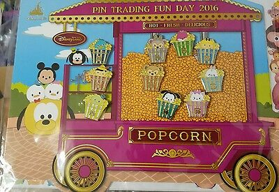 Disney Hong Kong Disneyland Pin Trading Fun Day 2016 Popcorn Pin Set 10 Pins
