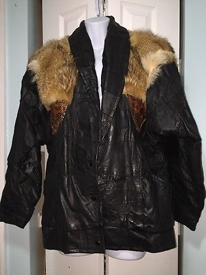 Vintage  Brown Leather Jacket Womens Size MediUm Or Large With Real Animal Fur