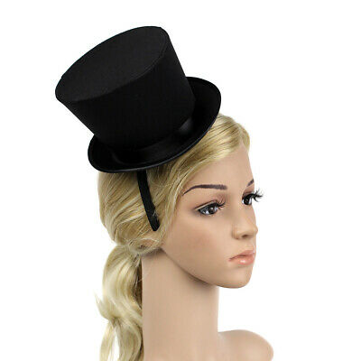 Mini Top Hat Feather Fascinator Headband with Black Band