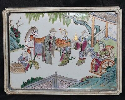 Very Rare Old Chinese Hand Painting Figures Porcelain Panel Plaque FA320