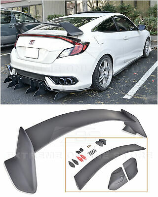 Type R Style Rear Trunk Wing Spoiler Body Kit For 16-Up Honda Civic Coupe 2Dr