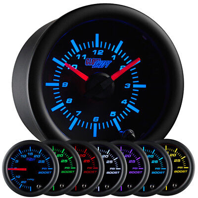 "2 1/16"" 52mm GlowShift Black 7 Color Series Analog Clock Gauge for 12 Volts"