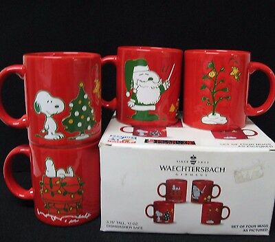 LOT 4 Waechtersbach Snoopy Woodstock Peanuts Christmas mugs Germany Set