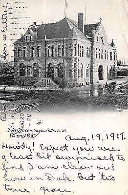 Sioux Falls South Dakota~Post Office in Puddles~Horse Buggy~1907 B&W Postcard