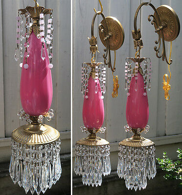 PR Vintage Sconce lamp Rose Pink Glass Bronze Brass tole crystal beaded Opaline