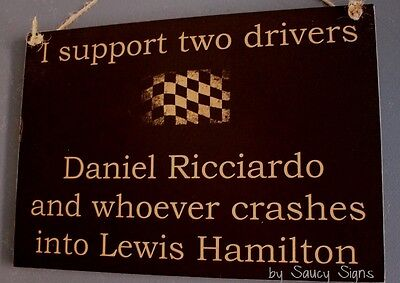 Daniel Ricciardo Wrecks Lewis Hamilton Formula One 1 Grand Prix GP Red Bull Sign